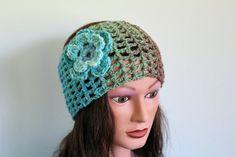 blue color progression chrochet headband, headcover, ear warmer, warm headband, wide headband, turban headband via Etsy