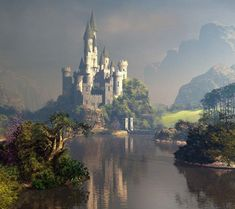 Fairy Land  - fairies are found every where if you look hard enough Castle,river,mountain,tree,