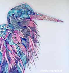Colorful Heron. For the September #coloringsistahs #crosshatching #pointillism project. This is my first time trying this technique. The inspiration comes from @_i_am_moi_ , but my lines are way way sloppy.  #milliemarotta #animalkingdom #milliemarottaanimalkingdom #crosshatch #staedtlertriplusfineliner #staedtler #triplusfineliner #coloring #coloriage #コロリアージュ #ミリーマロッタ #coloringsistahsproject