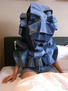 """Shin Murayama, Amadeus, made out of used jeans, 2010    In order to participate a project, I brought this body-mask with me to Brussels right after it had been completed with the cooperation of my friends.  The following year, it was displayed in another exhibition """"ARRRGH! Monsters in Fashion,"""" which took place at the Benaki Museum in Athens."""