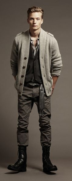 A little bit of English countryside never hurt anyone. #cardigan #boots #mensfashion