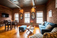 Modern Bright Brooklyn Brownstone Airbnb NYC New York City apartment Brooklyn Brownstone, Bed Stuy, New York City Travel, New York City Apartment, Beautiful Hotels, Cozy Cottage, Exposed Brick, Modern Industrial, Bedroom Apartment