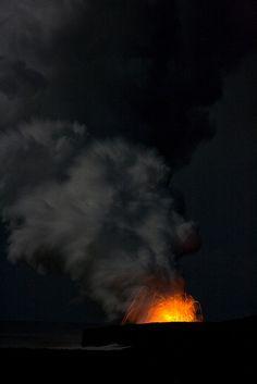 Volcano at night, Big Island. Hawaii