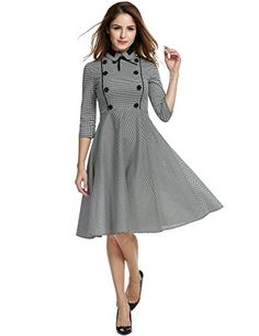 ANGVNS Womens Elegant Vintage 1940s 34 Sleeve Large Swing Official Plaid Slim Dress >>> Find out more about the great product at the image link.