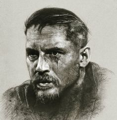 Illustration by John Fenerov @johnfenerov IG ~ Moody and dark noir at its best. James Delaney from Taboo. Ink / charcoal *Please keep artist credit attached to this image*