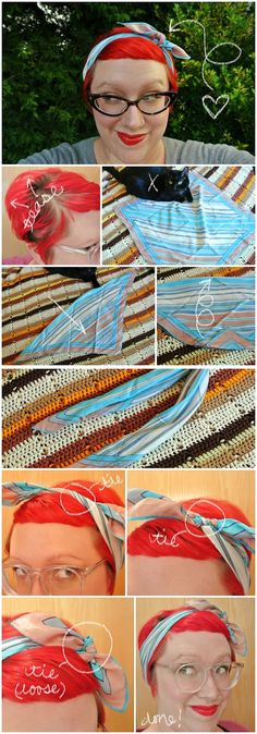3-Knot Vintage Headscarf Tutorial by The Nearsighted Owl
