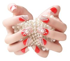 2 Boxes(48 Pieces) Wedding Beautiful Style DIY 3D Design False Nails, Red ** Details can be found by clicking on the image.
