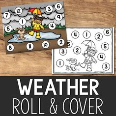 Roll and Cover Games Printables for Pre-K, Kindergarten, Preschool - PreKinders Teaching Weather, Preschool Weather, Weather Crafts, Weather Activities, Toddler Learning Activities, Group Activities, Kindergarten Math Games, Preschool Games, Preschool Classroom