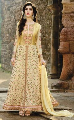 Lemon Designer Anarkali Suit - Lemon Floor Length Anarkali Suit of Georgette Fabric with resham thread embroidered work with bottom of Shantoon fabric. Comes with matching Chiffon dupatta and with sequins work enhancing the zari. Robe Anarkali, Indian Anarkali Dresses, Costumes Anarkali, Eid Dresses, Anarkali Suits, Designer Anarkali, Designer Salwar Suits, Designer Dresses, Churidar