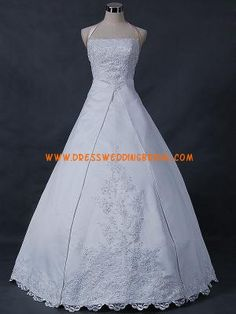 Halter Ball Gown Applique Satin Wedding Gown 2012