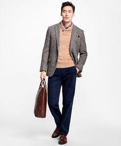 Regent Fit Harris Tweed Herringbone with Multi-Windowpane Sport Coat - Brooks Brothers