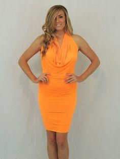 Heartbreaker Halter Dress in Orange