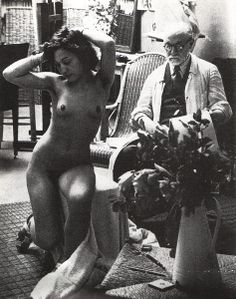 Henri Matisse and his model. Photo by Brassai, 1939