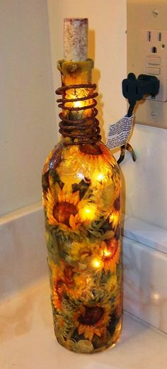 Decoupage Sunflowers Wine Bottle Night Light by barnyardmemories