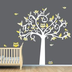 Yellow and Grey Theme - Owls / Birds/ Tree Wall Decal for Baby Nursery or Kid's Room: Amazon.com: Baby