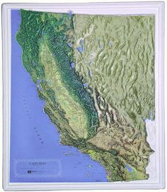 California State Raised Relief Map - NCR - Natural Color Relief