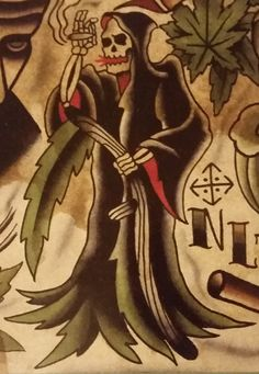 """Traditional/old school tattoo, Jeromey """"tilt"""" McCulloch, Gentleman Joel, Lunchbox, Boxcar, reaper, weed, 420 Animal Sleeve Tattoo, Sleeve Tattoos, Picture Tattoos, Tattoo Pics, Tattoo Ideas, Weed Tattoo, Grim Reaper Tattoo, Traditional Tattoo Art, American Traditional"""