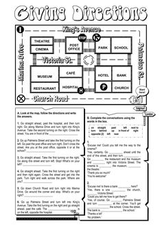 Giving directions English as a Second Language (ESL) worksheet. You can do the exercises online or download the worksheet as pdf.
