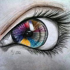 Pencil drawing of eye.