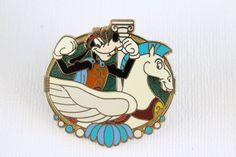 This rare Disney pin for sale features Goofy dressed as the hero Hercules riding Pegasus as a Carousel Horse retired from Hong Kong Disneyland. Guaranteed Authentic and Scrapper-Free. Earn reward poin