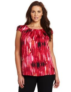 Anne Klein Women is Plus-Size Brushstroke Print Blouse, Rouge Multi, Sweater And Shorts, Plus Size Blouses, Printed Blouse, Maternity Dresses, Anne Klein, Blouse Designs, Plus Size Women, Fashion Brands, Womens Fashion