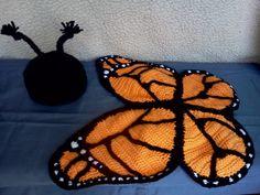 Crochet photo prop Monarch Butterfly hat and by momscrochetcorner