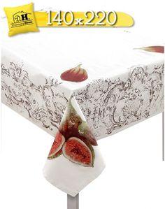 Tovaglia Vintage Shabby chic Fichi e Limoni Collection Blanc Mariclo' 140 x 220 Stampa Fichi
