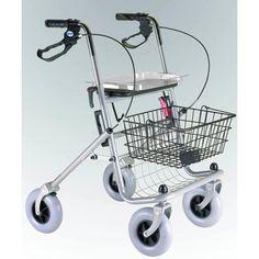 Rolator plegable con asiento y cesta para utilizarlo tanto en interiores como en exteriores. Los frenos de maneta inmovilizan al andador para una mayor seguridad al sentarse o levantarse.