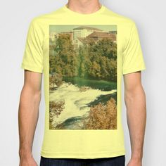 City by the River T-shirt by Anja Hebrank - $22.00  #rheinfall #germany #deutschland #autumn #landscape #nature #river #city #colours #colour #vintage #streetphotography #canon #present #decoration #interior #travelling #travelphotography #design #individual #society6 #print #art #artprint #interior #decoration #design #photography #fashion #clothes #clothing #tshirt #shirt #top