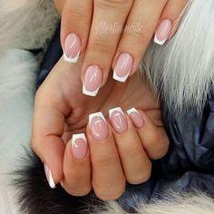 Short French Nails, Gel French, French Manicure Acrylic Nails, Short Fake Nails, Cute Acrylic Nails, Acrylic Nail Designs, Elegant Nails, Stylish Nails, Nailed It
