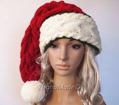 d6378645e73c0 Santa Hat Adult Women Long Handmade Knit Oversized Beanie Beret Baggy  Slouchy Red Cream White Xmas. Wool YarnMerino ...