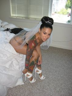 Beautiful Bride And Always A Sexy Tattoo Girl