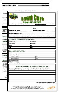 Lawn Care Contract -- Combo Estimate & Contract Form, $9.95 - Lawn ...