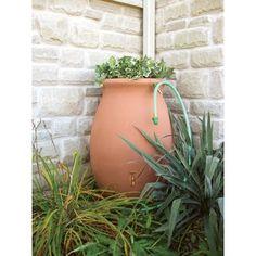 $136 Algreen 'Castilla' Terra Cotta 50-gallon Rain Barrel with Spigot   Overstock.com