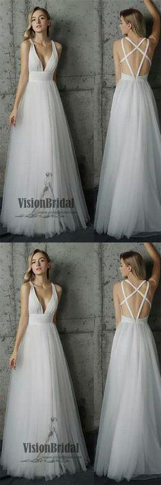 Regular Straps V-neck Sleeveless White Tulle A-Line Floor Length Wedding Dress, Beautiful Wedding Dress, VB0229 #weddingdresses