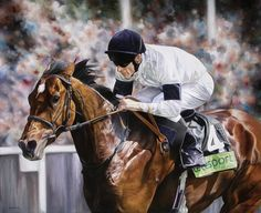 Motivator and Johnny Murtagh Limited Edition Horse Racing Print by Equestrian Artist Joanna Stribbling
