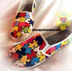 Autism Awareness Puzzle Piece  Shoes are now available exclusively only at www.MyLoveForAutism.com for a limited time only!! Order yours today and help raise awareness for autism.✔️ORDER YOURS TODAY WWW.MYLOVEFORAUTISM.COM
