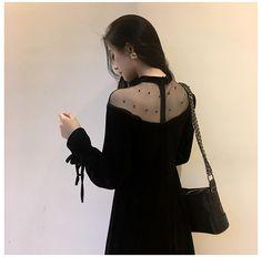 2017 осенью и зимой в новом длинном абзаце принять толстые бархатные платья слово плечо черные сексуальные чистой пряжи юбки женщины - Taobao