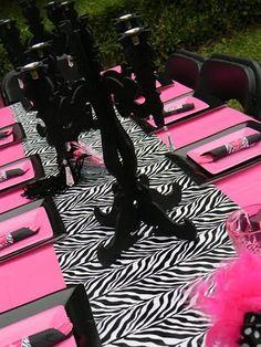 zebra themed table