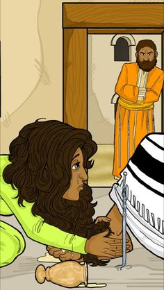 Mary pours perfume over Yeshua (Jesus) feet. Read the Bible story of the Messiah's betrayal here.
