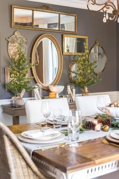 Pretty mirror grouping looks dramatic on dark wall Holiday Housewalk 2018 - Bless'er House Dining Room Wall Decor, Room Decor, Dining Room Mirrors, Wall Mirrors, Wall Mirror Groupings, Wall Decor With Mirrors, Hanging Mirrors, Diy Mirror, Mirror Gallery Wall