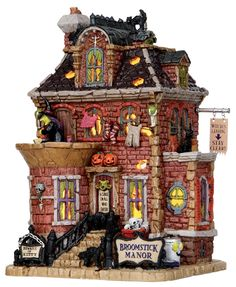 broomstick manor, witch, residence, witch's residence by Lemax Collections Halloween Train, Halloween House, Holidays Halloween, Halloween Pumpkins, Halloween Crafts, Holiday Crafts, Halloween Ideas, Halloween Village Display, Halloween Decorations