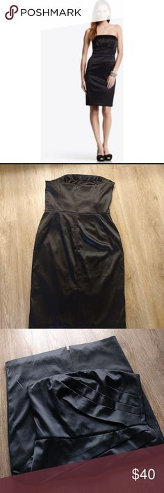 WHBM satin black strapless dress size 8 Wore one time for a Xmas party. White house Black market satin black strapless dress size 8 White House Black Market Dresses Strapless