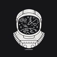 Astronaut by Liam Ashurst on Dribbble. Astronaut Drawing, Astronaut Illustration, Astronaut Tattoo, Mayor Tom, Tattoo Drawings, Art Drawings, Astronaut Helmet, Desenho Tattoo, Drawing Sketches