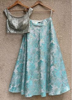 Silver Sequins Tassel Blouse And Light Blue Skirt-Shrena Hirawat-Fabilicious Fashion Indian Fashion Dresses, Dress Indian Style, Indian Designer Outfits, Designer Clothing, Indian Party Wear, Indian Wedding Outfits, Indian Outfits, Indian Wear, Lehenga Skirt