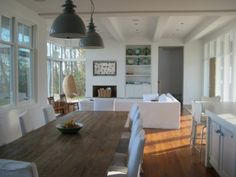 Great and dining rooms - eclectic - living room - other metro - Searl Lamaster Howe Architects Modern Rustic Dining Table, Modern Rustic Furniture, Farmhouse Table, Dining Room Table, Wood Table, Dining Rooms, Farmhouse Design, Dining Area, Modern Chairs
