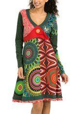 Desigual Green & Red Hanaleis V-Neck Dress - Women V Neck Dress, Fashion Prints, Cold Shoulder Dress, Feminine, Summer Dresses, Clothes For Women, Elegant, Long Sleeve, Casual