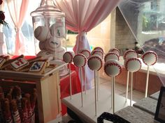 Cake pops at a Baseball Baby Shower #baseball #babyshower #cakepops