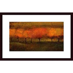 Seth Winegar 'Red Trees I' Wood Framed Art Print ($126) ❤ liked on Polyvore featuring home, home decor, wall art, black, landscape wall art, black tree wall art, red black wall art, fall trees and black framed wall art
