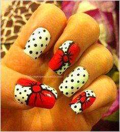 My hello kitty bow nail art. My hello kitty bow nail art. Love Nails, Fun Nails, Pretty Nails, Bling Nails, Bow Nail Art, Easy Nail Art, Nail Art Dots, Pop Art Nails, Minnie Mouse Nails